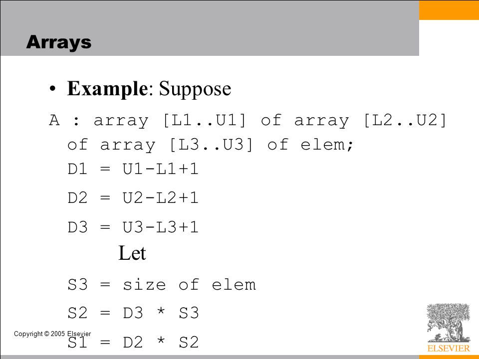Copyright © 2005 Elsevier Arrays Example: Suppose A : array [L1..U1] of array [L2..U2] of array [L3..U3] of elem; D1 = U1-L1+1 D2 = U2-L2+1 D3 = U3-L3+1 Let S3 = size of elem S2 = D3 * S3 S1 = D2 * S2