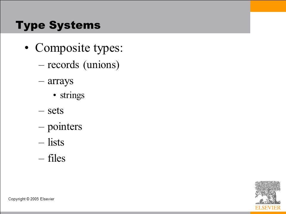Copyright © 2005 Elsevier Type Systems Composite types: –records (unions) –arrays strings –sets –pointers –lists –files