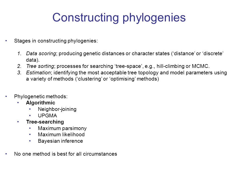 Constructing phylogenies Stages in constructing phylogenies: 1.Data scoring; producing genetic distances or character states ('distance' or 'discrete' data).