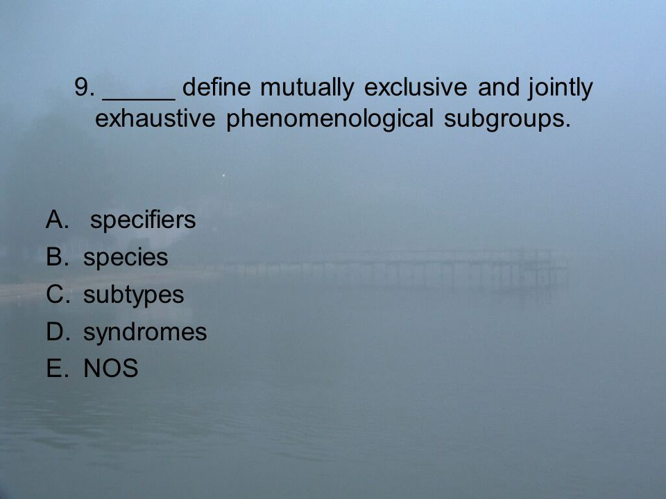 9. _____ define mutually exclusive and jointly exhaustive phenomenological subgroups.