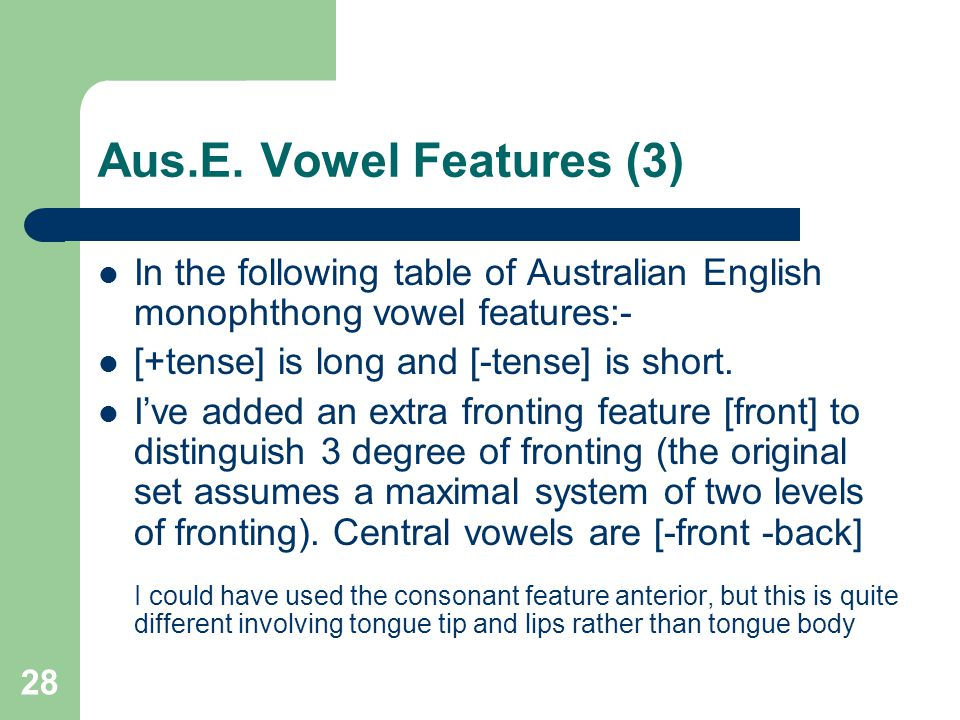 Aus.E. Vowel Features (3) In the following table of Australian English monophthong vowel features:- [+tense] is long and [-tense] is short. I've added