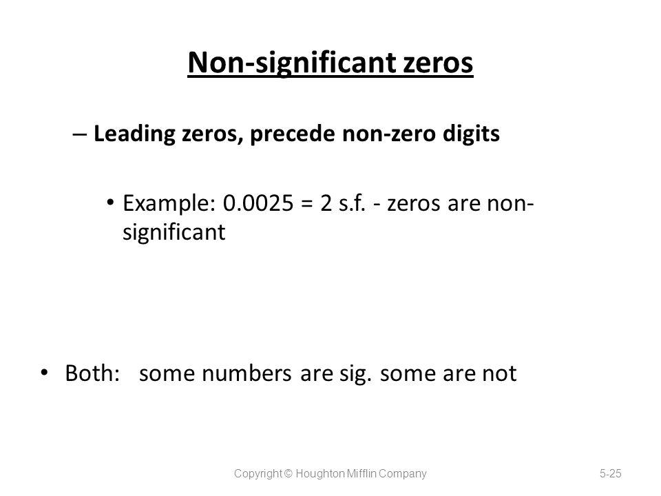 Non-significant zeros – Leading zeros, precede non-zero digits Example: 0.0025 = 2 s.f.