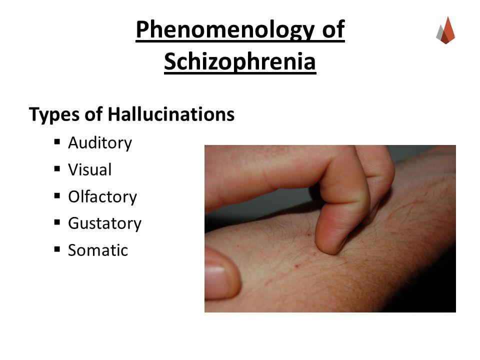 Phenomenology of Schizophrenia Types of Hallucinations  Auditory  Visual  Olfactory  Gustatory  Somatic