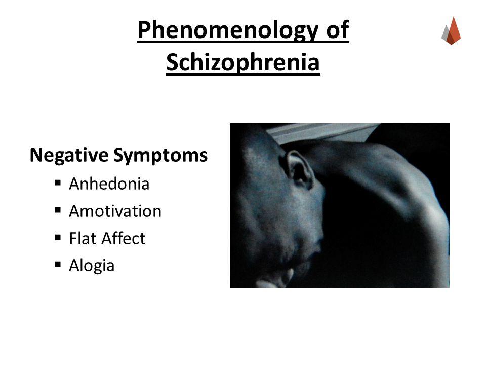 Phenomenology of Schizophrenia Negative Symptoms  Anhedonia  Amotivation  Flat Affect  Alogia