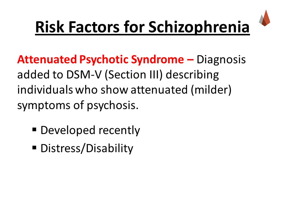Risk Factors for Schizophrenia Attenuated Psychotic Syndrome – Diagnosis added to DSM-V (Section III) describing individuals who show attenuated (milder) symptoms of psychosis.