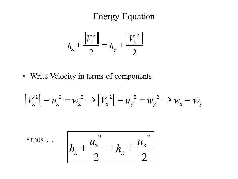 Normal Component Tangential velocity is Constant across oblique Shock wave  x u x 2 A  y u y 2 A  p y  p x  A  p x  x u x 2  p y  y u y 2