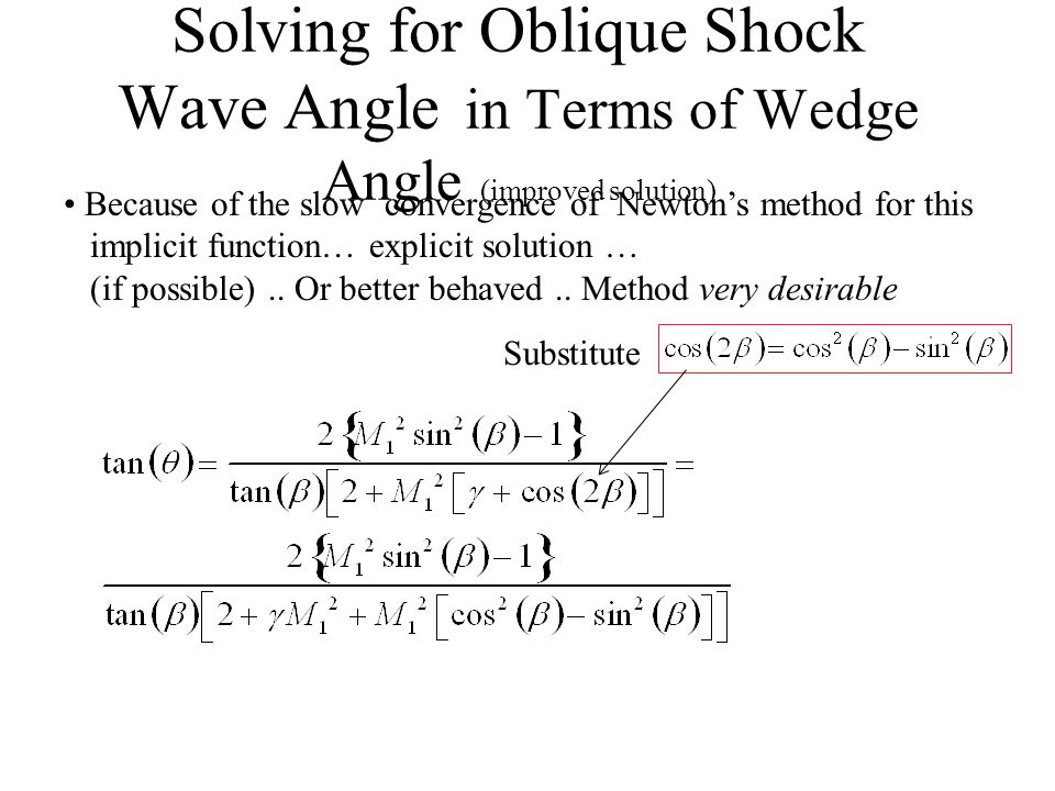 Solving for Oblique Shock Wave Angle in Terms of Wedge Angle (concluded) Newton method … or can toggle to strong shock solution Strong shock solution