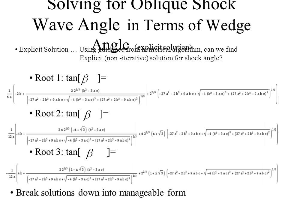 Solving for Oblique Shock Wave Angle in Terms of Wedge Angle (explicit solution) Improved Algorithm Meaningless Solution Explicit Solution … Using guidance from numerical algorithm, can we find Explicit (non -iterative) solution for shock angle.