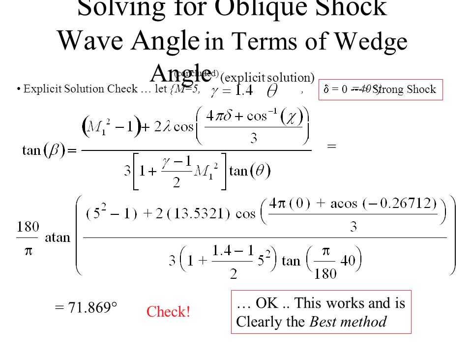Solving for Oblique Shock Wave Angle in Terms of Wedge Angle (explicit solution) Improved Algorithm Meaningless Solution  = 1 ---> Weak Shock = = 60.259  Check.