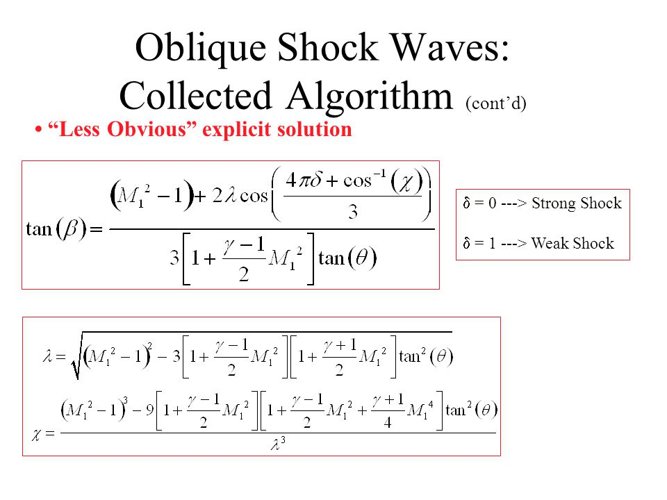 Oblique Shock Waves: Collected Algorithm (cont'd) Can be re-written as third order polynomial in tan(  ) Very Easy numerical solution Cubic equation has three solutions i) weak shock ii) Strong shock iii) non-physical solution