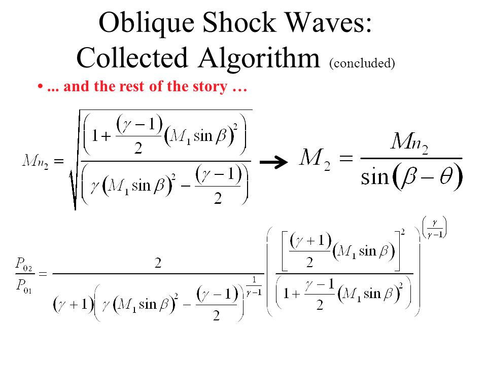 Oblique Shock Waves: Collected Algorithm (cont'd)... and the rest of the story …