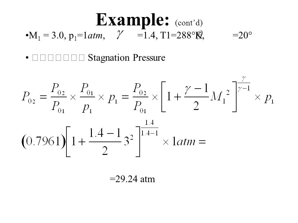 Example: (cont'd) M 1 = 3.0, p 1 =1atm,  =1.4, T1=288  K,  =20   Stagnation Pressure ratio (alternate method) =0.7961