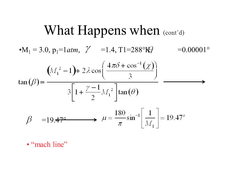What Happens when M 1 = 3.0, p 1 =1atm,  =1.4, T1=288  K,  =0.00001  Explicit Solver for  =8.0 =1.0