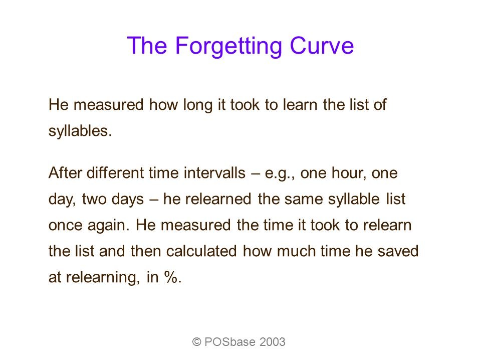 The Forgetting Curve © POSbase 2003 He measured how long it took to learn the list of syllables. After different time intervalls – e.g., one hour, one