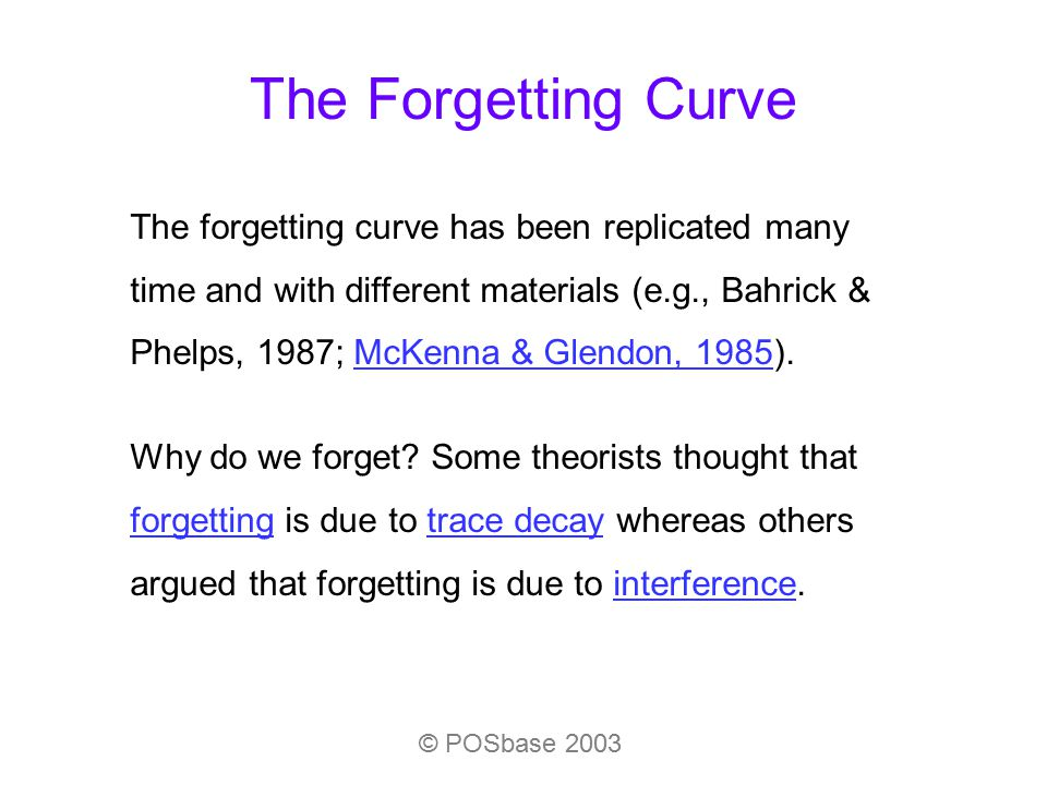The Forgetting Curve © POSbase 2003 The forgetting curve has been replicated many time and with different materials (e.g., Bahrick & Phelps, 1987; McK