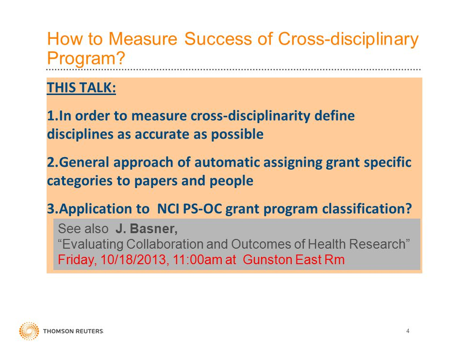 How to Measure Success of Cross-disciplinary Program.
