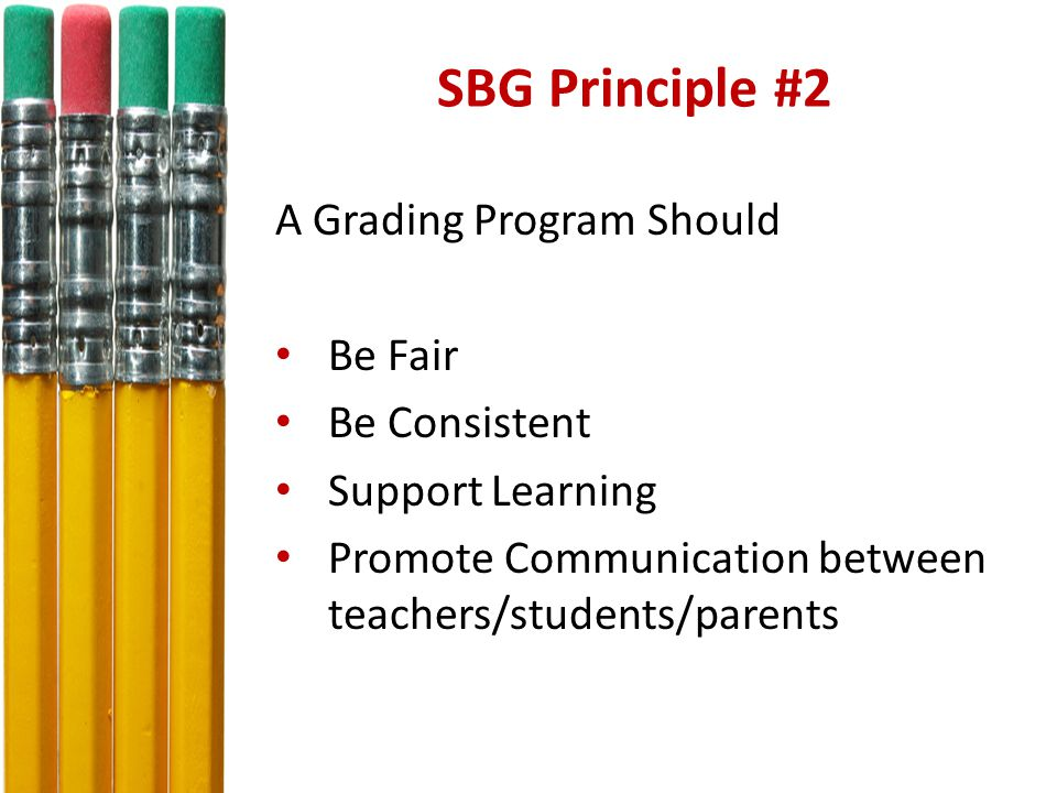 SBG Principle #2 A Grading Program Should Be Fair Be Consistent Support Learning Promote Communication between teachers/students/parents