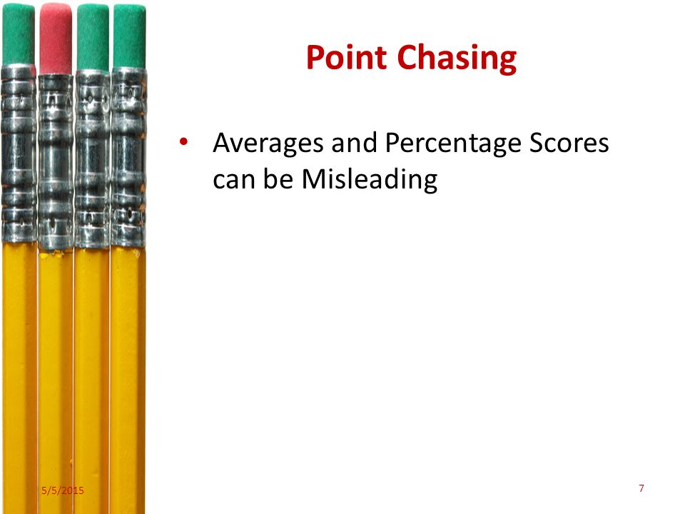 Point Chasing Averages and Percentage Scores can be Misleading 5/5/2015 7