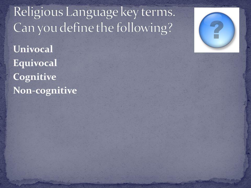 Univocal Equivocal Cognitive Non-cognitive