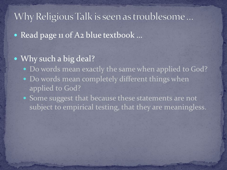 Read page 11 of A2 blue textbook … Why such a big deal.