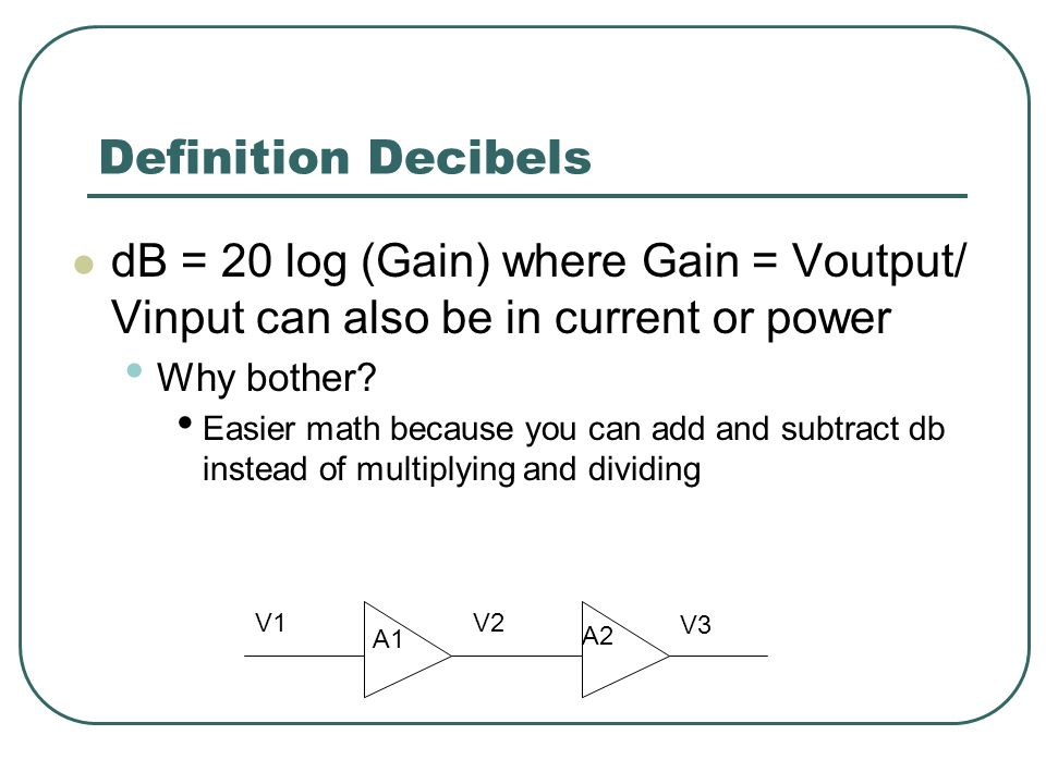 Definition Decibels dB = 20 log (Gain) where Gain = Voutput/ Vinput can also be in current or power Why bother.