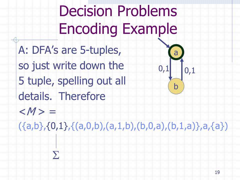 19 Decision Problems Encoding Example A: DFA's are 5-tuples, so just write down the 5 tuple, spelling out all details.