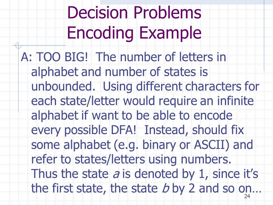 24 Decision Problems Encoding Example A: TOO BIG.