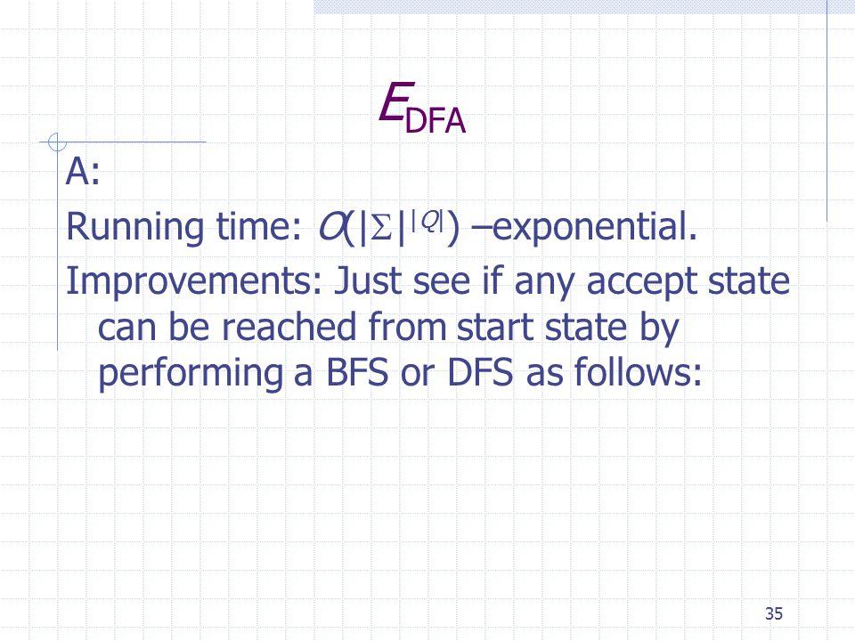 35 E DFA A: Running time: O(|  | |Q| ) –exponential.