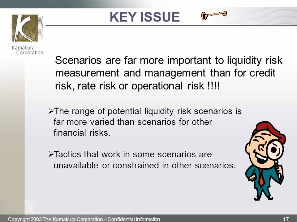 Copyright 2003 The Kamakura Corporation – Confidential Information 17 KEY ISSUE Scenarios are far more important to liquidity risk measurement and man