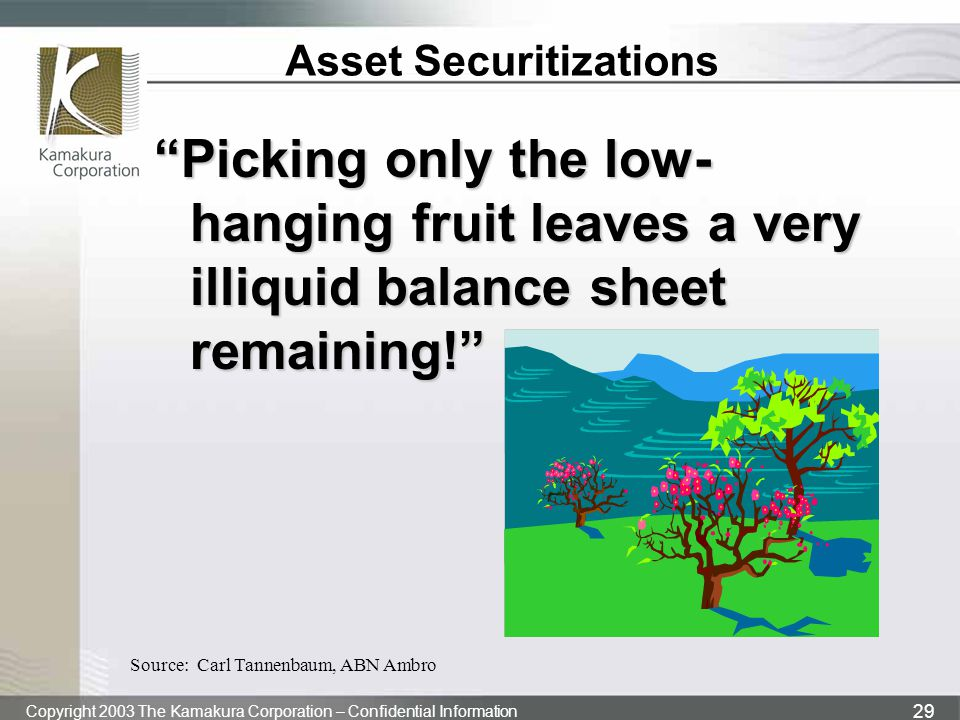 "Copyright 2003 The Kamakura Corporation – Confidential Information 29 Asset Securitizations ""Picking only the low- hanging fruit leaves a very illiqui"