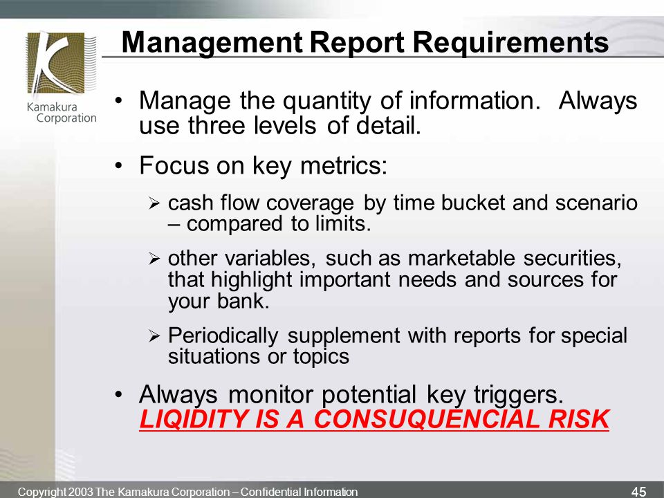 Copyright 2003 The Kamakura Corporation – Confidential Information 45 Management Report Requirements Manage the quantity of information. Always use th