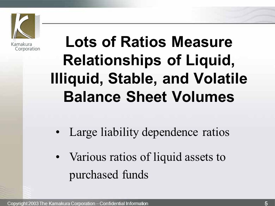 Copyright 2003 The Kamakura Corporation – Confidential Information 5 Lots of Ratios Measure Relationships of Liquid, Illiquid, Stable, and Volatile Ba