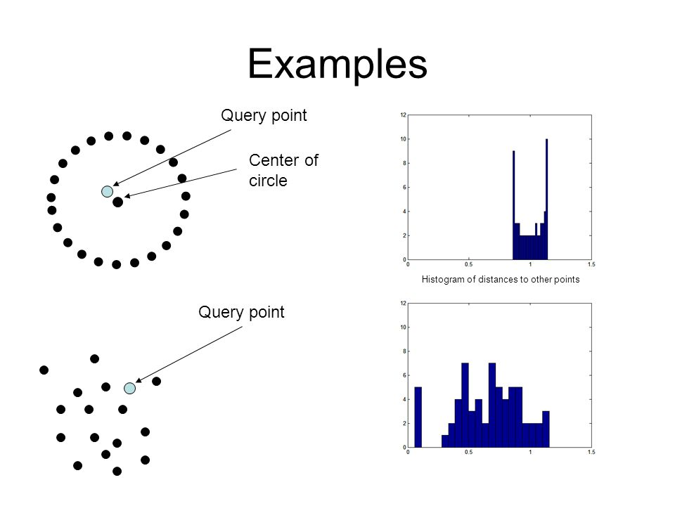 Examples Query point Center of circle Query point Histogram of distances to other points