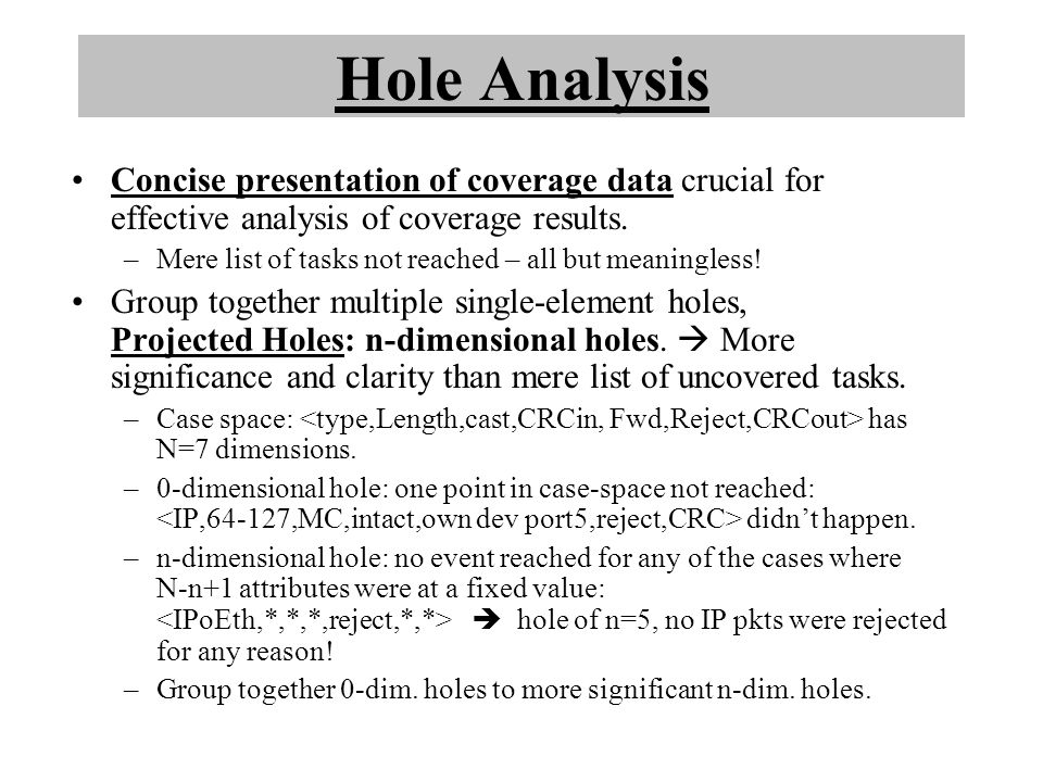 Hole Analysis Concise presentation of coverage data crucial for effective analysis of coverage results.