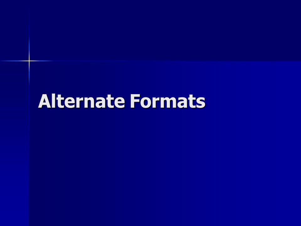 Alternate Formats