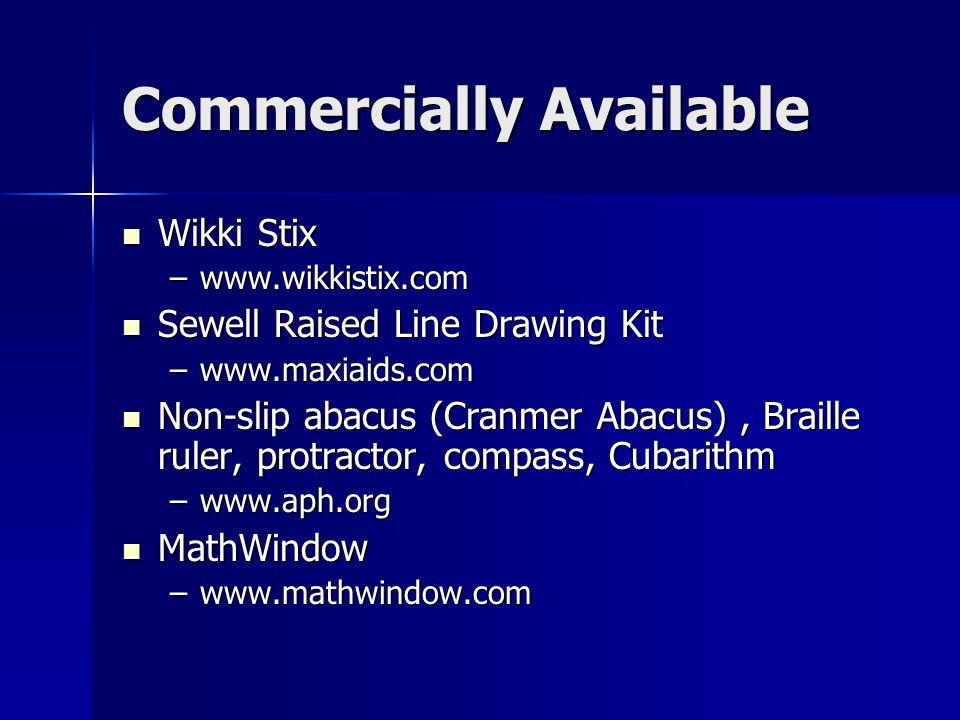 Commercially Available Wikki Stix Wikki Stix –www.wikkistix.com Sewell Raised Line Drawing Kit Sewell Raised Line Drawing Kit –www.maxiaids.com Non-sl