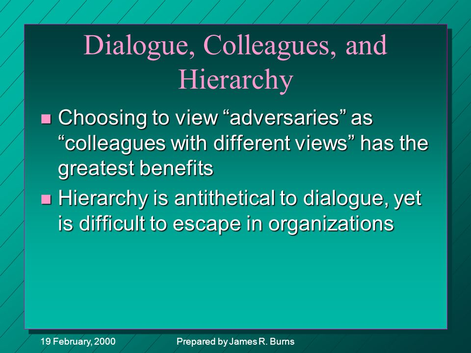 "19 February, 2000Prepared by James R. Burns Dialogue, Colleagues, and Hierarchy n Choosing to view ""adversaries"" as ""colleagues with different views"""