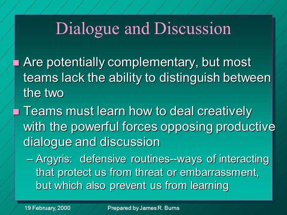19 February, 2000Prepared by James R. Burns Dialogue and Discussion n Are potentially complementary, but most teams lack the ability to distinguish be