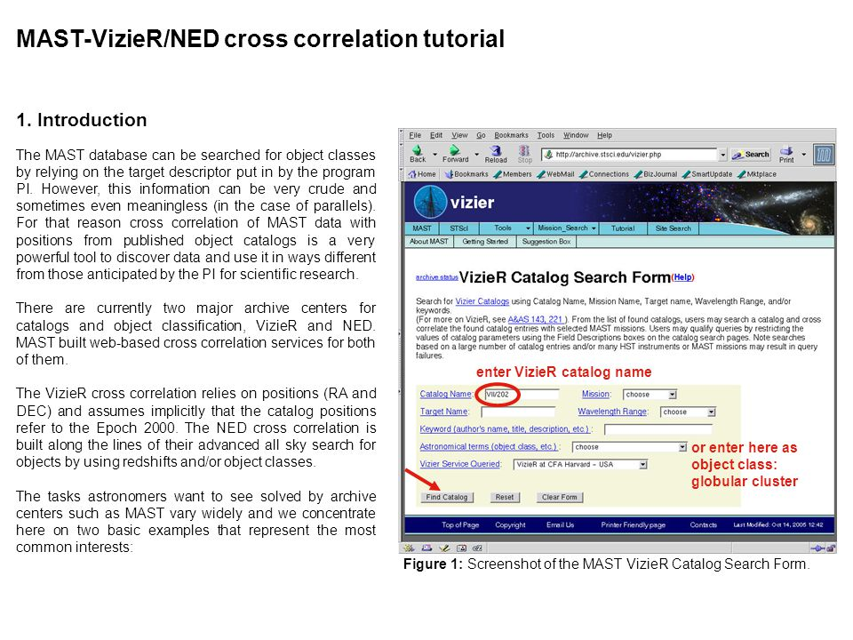MAST-VizieR/NED cross correlation tutorial 1.