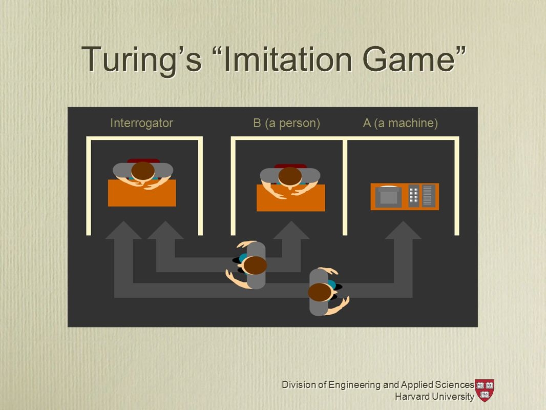 Division of Engineering and Applied Sciences Harvard University Division of Engineering and Applied Sciences Harvard University Turing's Imitation Game InterrogatorB (a person)A (a machine)