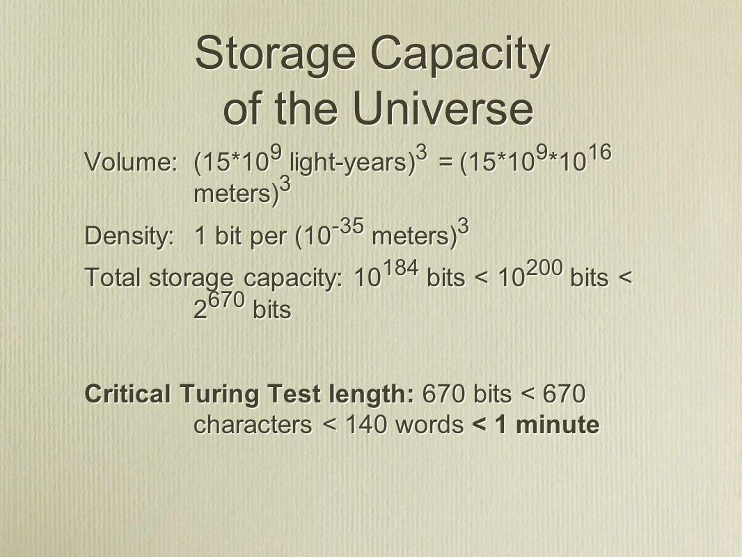 Storage Capacity of the Universe Volume: (15*10 9 light-years) 3 = (15*10 9 *10 16 meters) 3 Density: 1 bit per (10 -35 meters) 3 Total storage capacity: 10 184 bits < 10 200 bits < 2 670 bits Critical Turing Test length: 670 bits < 670 characters < 140 words < 1 minute Volume: (15*10 9 light-years) 3 = (15*10 9 *10 16 meters) 3 Density: 1 bit per (10 -35 meters) 3 Total storage capacity: 10 184 bits < 10 200 bits < 2 670 bits Critical Turing Test length: 670 bits < 670 characters < 140 words < 1 minute