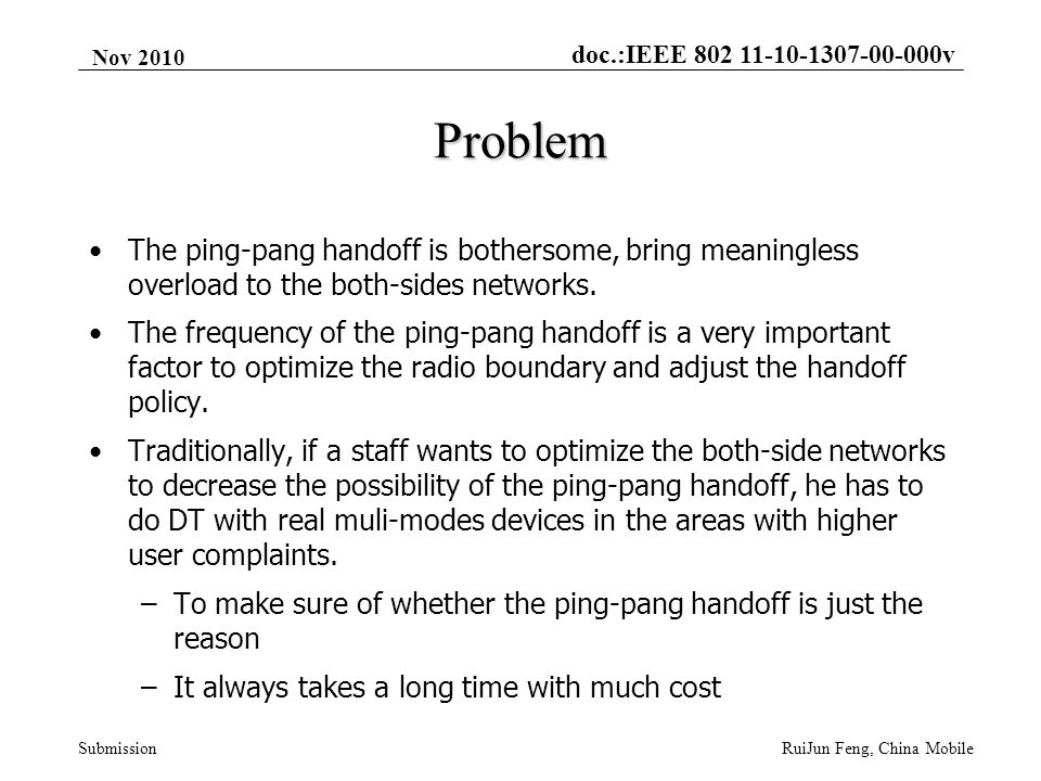 doc.:IEEE 802 11-10-1307-00-000v Submission Nov 2010 RuiJun Feng, China Mobile Problem The ping-pang handoff is bothersome, bring meaningless overload to the both-sides networks.