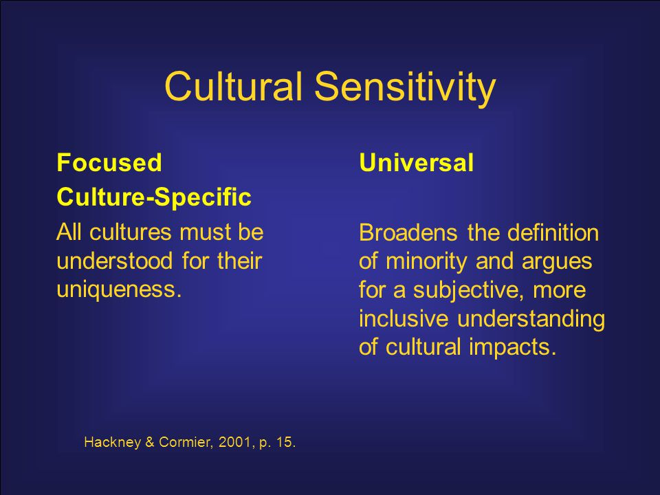 Cultural Sensitivity Focused culture-specific: too many variables confuse multiculturalism; render it meaningless.
