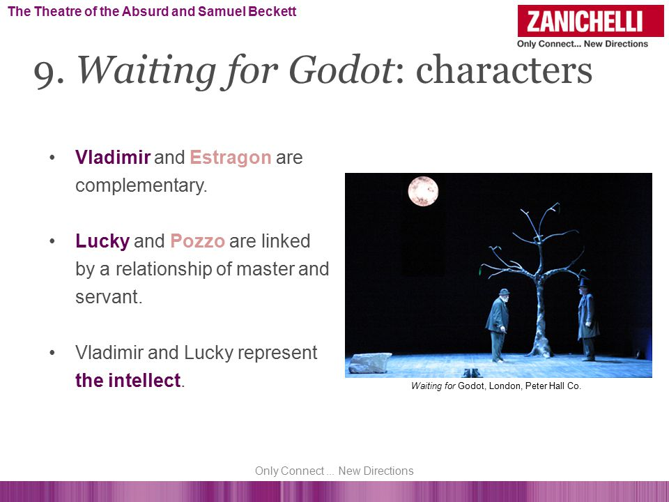 Vladimir and Estragon are complementary. Lucky and Pozzo are linked by a relationship of master and servant. Vladimir and Lucky represent the intellec