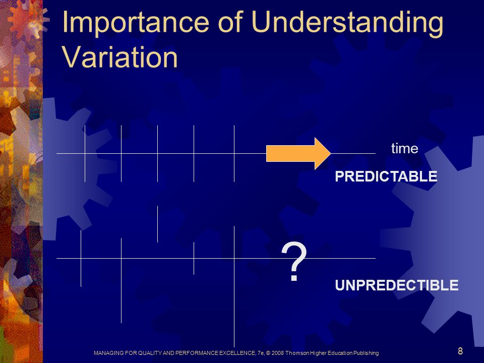 MANAGING FOR QUALITY AND PERFORMANCE EXCELLENCE, 7e, © 2008 Thomson Higher Education Publishing 8 Importance of Understanding Variation time PREDICTABLE .