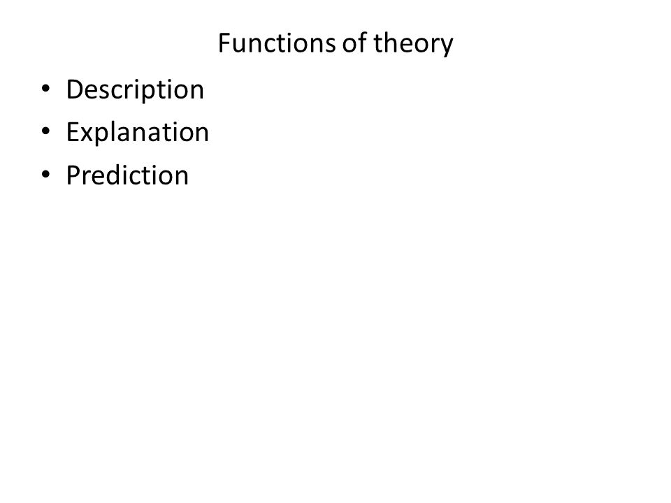 Functions of theory Description Explanation Prediction