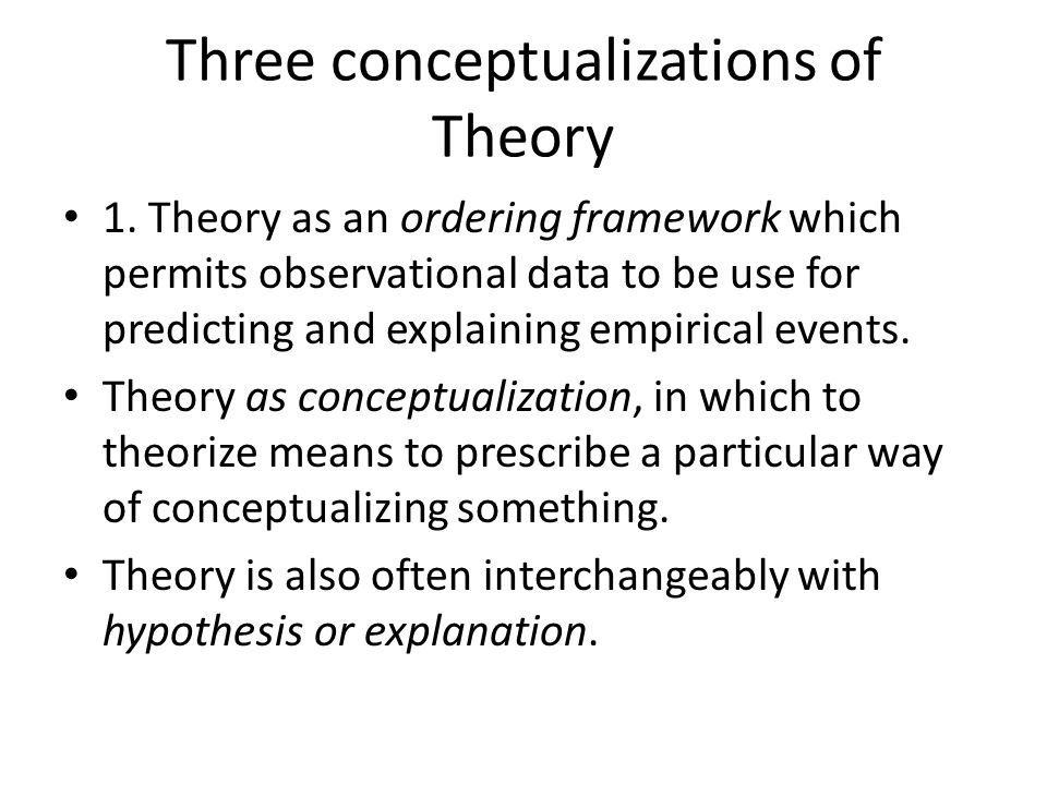 Three conceptualizations of Theory 1.