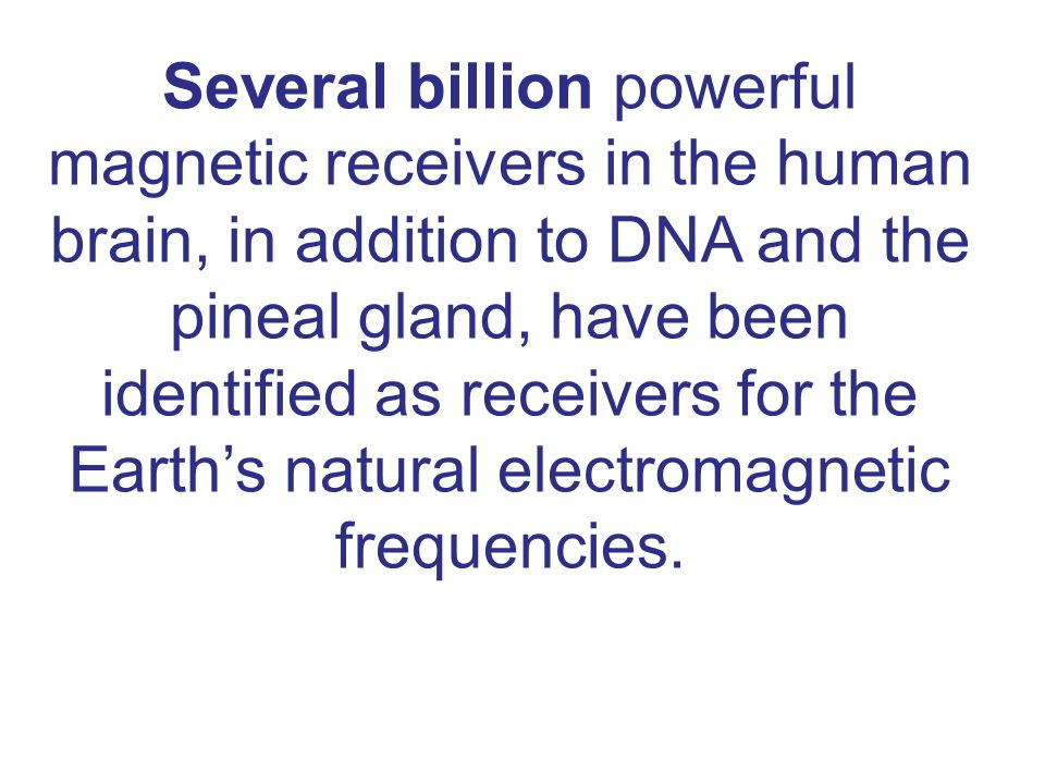 Several billion powerful magnetic receivers in the human brain, in addition to DNA and the pineal gland, have been identified as receivers for the Earth's natural electromagnetic frequencies.