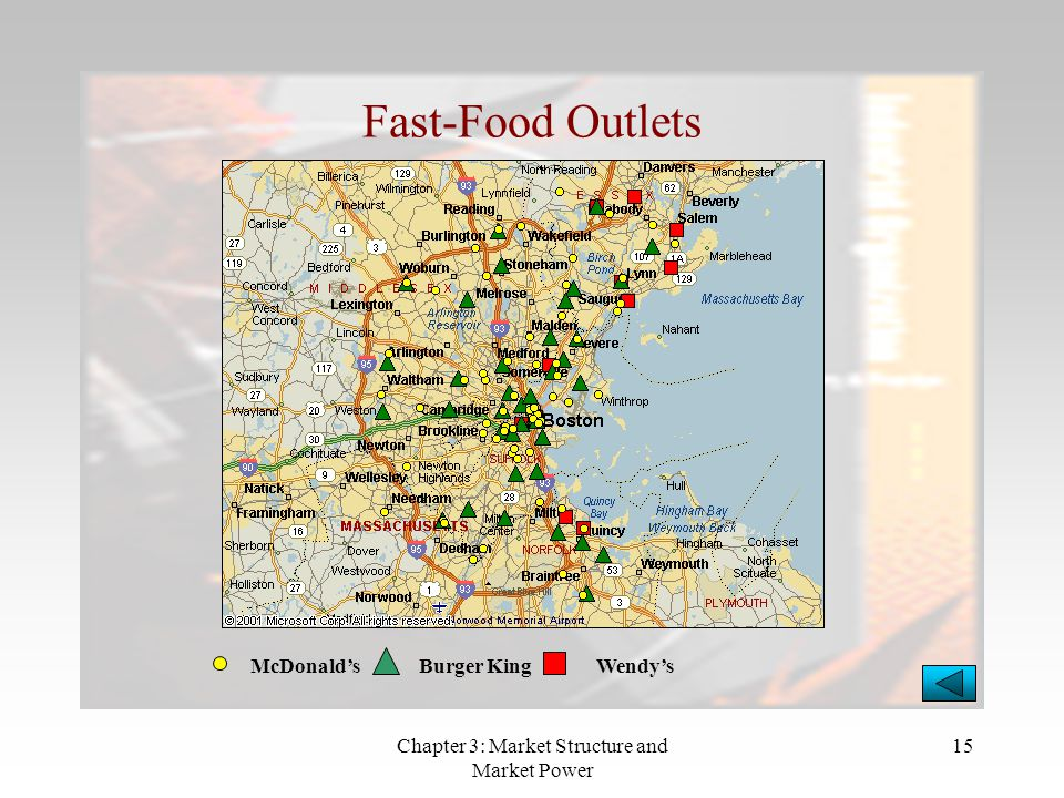 Chapter 3: Market Structure and Market Power 15 Fast-Food Outlets McDonald'sBurger KingWendy's