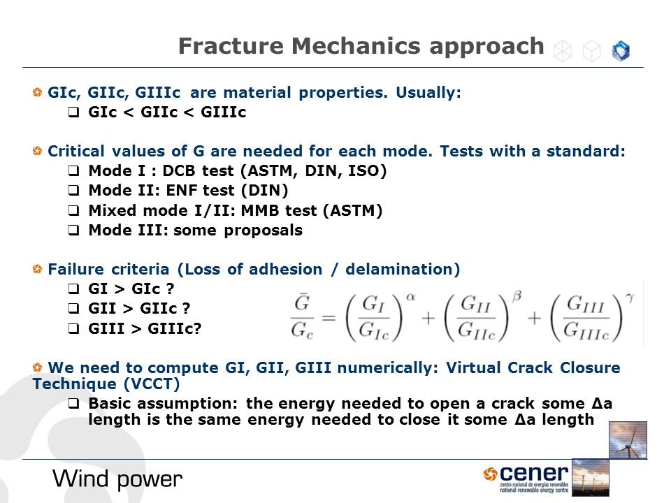 Fracture Mechanics approach GIc, GIIc, GIIIc are material properties. Usually:  GIc < GIIc < GIIIc Critical values of G are needed for each mode. Tes